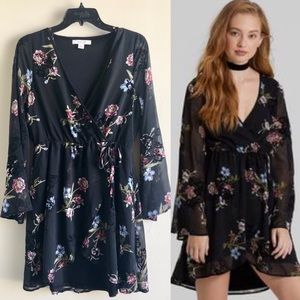 New [Adam Levine] Black Floral Wrap Dress